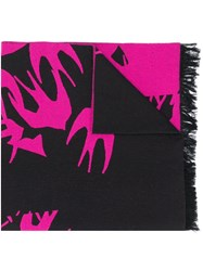 Mcq By Alexander Mcqueen Swallow Knit Scarf Black