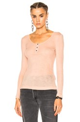 Alexander Wang T By Sheer Rib Henley Sweater In Neutrals Pink Neutrals Pink