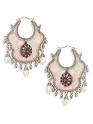 Alexander Mcqueen Crystal And Faux Pearl Evening Earrings Rose Silver