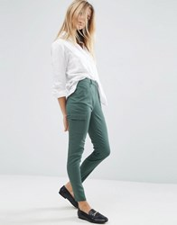 Asos Cigarette Trousers With Patch Pockets Washed Teal Multi