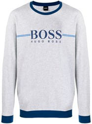 Hugo Boss Logo Embroidered Sweatshirt Grey