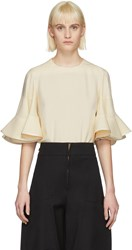 Chloe Off White Ruffle Sleeve Blouse