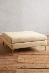 Anthropologie Basketweave Linen Edlyn Grand Ottoman Natural