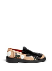 Marni Floral Embellishment Leather Moccasin Fringe Loafers Neutral