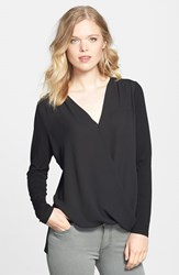 Vince Camuto Women's Georgette And Jersey Faux Wrap Blouse