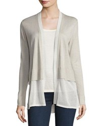 Neiman Marcus Cashmere Chiffon Trim Open Front Cardigan Pearl Grey White