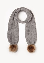 Missguided Grey Faux Fur Pom Pom Cable Knit Scarf