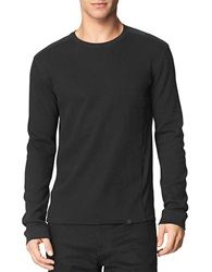 Calvin Klein Jeans Mixed Media Waffle Knit Pullover Charcoal