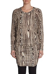 Bcbgmaxazria Printed Ruched Tunic Black Brown