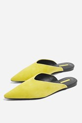 Topshop Yellow Kilo Pointed Mules Yellow