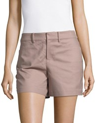 Lord And Taylor Kelly Solid Cotton Blend Shorts Orange