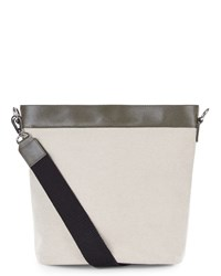 Jaeger Leather Canvas Bucket Bag White
