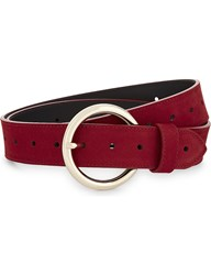 Sandro Moyenne Suede Leather Belt Red