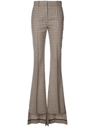 Vera Wang Checked Asymmetric Flared Trousers Brown