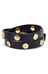Women's Tory Burch Double Wrap Logo Bracelet Black Gold