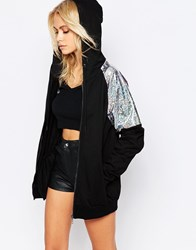Story Of Lola Hoodie With Sequin Panel Black