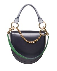 Sacai Leather Coin Bag W Chain Strap Navy Blue