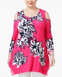 Jm Collection Plus Size Floral Print Cold Shoulder Tunic Pink Wild Blossom
