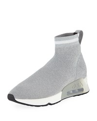 Ash Lovely Metallic Knit High Top Sock Sneakers Gray