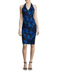 David Meister Halter Neck Floral Lace Cocktail Dress Cobalt Black