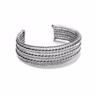 Agnes De Verneuil Silvered Cuff Bracelet Seven Band Mixed Pearls White Grey Silver