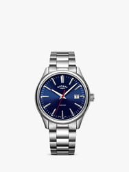 Rotary 'S Oxford Date Bracelet Strap Watch Silver Blue Gb05092 53
