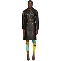 Versace Black Leather Belted Trench Coat