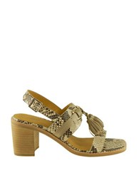 G.H. Bass Roselle Snake Print Leather Sandals Natural
