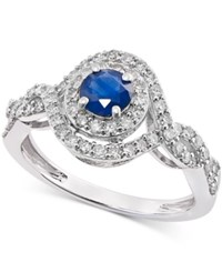 Macy's Sapphire 1 2 Ct. T.W. And Diamond 1 2 Ct. T.W. Ring In 14K White Gold Blue