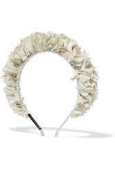 Yunotme Flock Silk Satin Headband Ivory