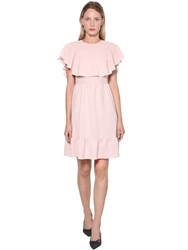 Red Valentino Ruffled Fluid Crepe Midi Dress Pink