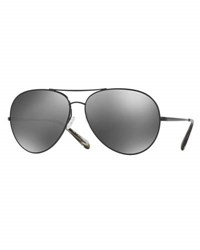 Oliver Peoples Sayer Mirrored Aviator Sunglasses Black