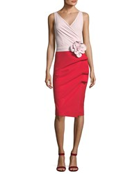 La Petite Robe Di Chiara Boni Madalina Colorblock 3D Flower Sheath Dress Poudre And Passion