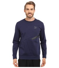 Puma Evo Zip Crew Peacoat Men's Long Sleeve Pullover Blue