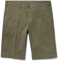 Canali Cotton Blend Twill Shorts Green