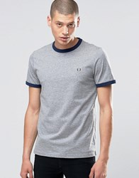 Fred Perry Ringer T Shirt In Steel Marl Carbon Blue Stl Ml Cb Bl Grey