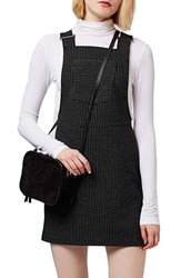 Women's Topshop Pinstripe Pinafore Dress Black