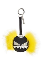 Fendi Mirror Key Chain With Fox Fur Multicolor