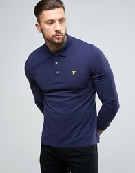 Lyle And Scott Long Sleeve Pique Polo Regular Fit Eagle Logo In Navy Navy