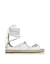 Dsquared2 Riri White Nappa Leather Lace Up Flat Espadrilles
