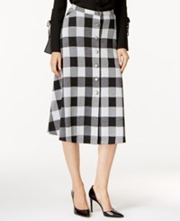 Ny Collection Plaid Ponte A Line Skirt Black White Plaid