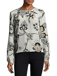 Carolina Herrera Floral Printed Long Sleeve Blouse Beige