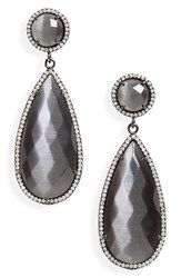 Susan Hanover Women's Semiprecious Stone Teardrop Earrings Grey Black Silver