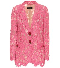 Dolce And Gabbana Floral Lace Blazer Pink