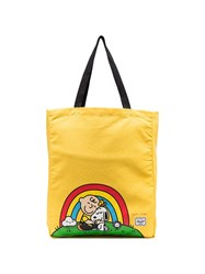 Herschel Supply Co. Yellow Snoopy Print Cotton Tote Bag