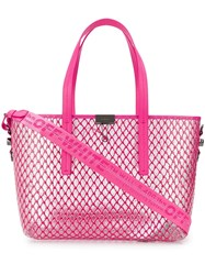 Off White Netted Shopper Bag Pink