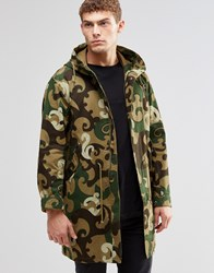 Pretty Green Parka In Camo Print Green