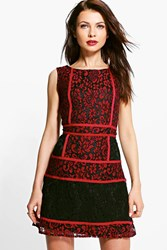 Boohoo Corded Lace Panelled Open Back Dress Red