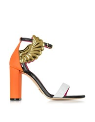 Oscar Tiye Malikah Color Block Leather High Heel Sandal Orange
