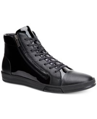 Calvin Klein Men's Berke Patent High Top Sneakers Men's Shoes Black